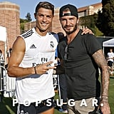 David Beckham posed with Cristiano Ronaldo after the Real Madrid training session at UCLA.