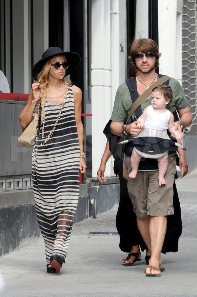 Rachel Zoe and her husband, Rodger Berman, took their baby son, Skyler, shopping in St. Barts yesterday. The family of three ventured into town for some retail therapy, but they've been otherwise all about beach time with friends like Marc Jacobs and Tamara Mellon lately. The Zoe-Berman clan has been in the Caribbean for the past week, and Rachel Zoe wore a bikini under her sarong for a few of their sandy outings. Skyler's been decked out in onesies and sun hats, but he just received a very stylish gift — Versace sent Rachel's son a package full of bright baby clothes!