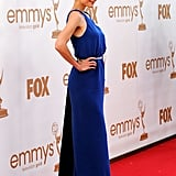 Katie Holmes looked smart in a blue gown at the 2011 Emmy Awards.