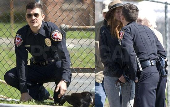 Photos of Orlando Bloom Kissing Miranda Kerr on the Set of Main Street in North Carolina