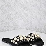 Forever 21 FOREVER 21+ Faux Pearl Slide Sandals