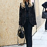 Rachel Zoe carried a black bag to Paris Fashion Week.