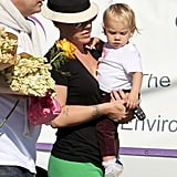 Pink carried baby Willow Hart in Malibu.