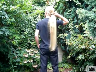 Man Shows Off Long Blond Hair