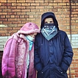 Drake and stylist Haley Wollens stayed warm in matching bandanas. Source: Instagram user champagnepapi