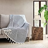 Striped Throw Blanket in Navy