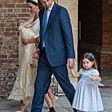 Prince William with Charlotte at Prince Louis's Christening.