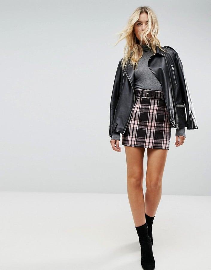 Asos Check Miniskirt With Belt