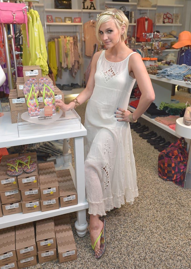 "Last night, Ashlee Simpson hosted the exclusive launch of Missoni and Havaianas's flip-flop collaboration at Kitson in Beverly Hills. Ashlee arrived looking hippie-chic in a long white maxi dress and sweet flowered headband. The new aunt to baby Maxwell Drew Johnson filled us in on her family's new addition, working on a tween line with her sister, Jessica Simpson, and how having her son, Bronx, has changed the way she dresses. Check out out some of the highlights:  On her niece, Maxwell: ""She is a doll. She's definitely the cutest thing in the whole world and is getting all the good, spoiled love. I got her a Fendi dress."" On how motherhood changed her style: ""I would say I dress for comfort most of the time. I mean, I have a daily lifestyle of being a mother as well, so I know I'm going to be picking up a 42-pound child, so sometimes heels just don't make sense. Although I wish I could be like Sex and the City and wear them all the time. But sometimes I go with a more practical, laid-back vibe. But as far as going out I like to go with my feeling. There is definitely sometimes a feeling that I love, that mod-meets-bohemian style."" On her tween clothing line with Jessica: ""The tween line is adorable and it's so much fun because we get to meet young girls trying the clothes on every day. It's just about bringing a good, fun element and the girls love these things, and it's great to meet them and find that out. I was just asking the other day if I could get all the clothes in my size. Like, can I wear a size 14 tween?"""