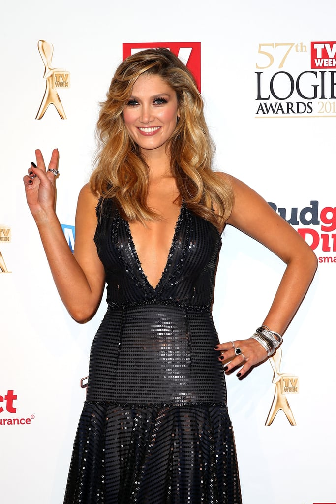 Peace out! Delta got all glammed up for the Logies in Melbourne in May 2015.