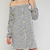 This is a dress that you could totally rock to the office and then out for happy hour.   Off the Shoulder Striped Pineapple Print Shift Dress ($20)