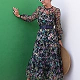 Halogen x Atlantic-Pacific Long-Sleeve Floral Sheer Tiered Maxi Dress
