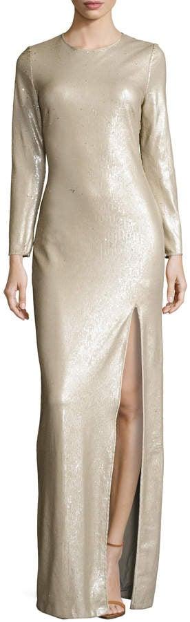 Halston Sequin High Split Maxi Gown