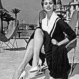 The gorgeous Sophia Loren posed seductively on the beach in 1954.