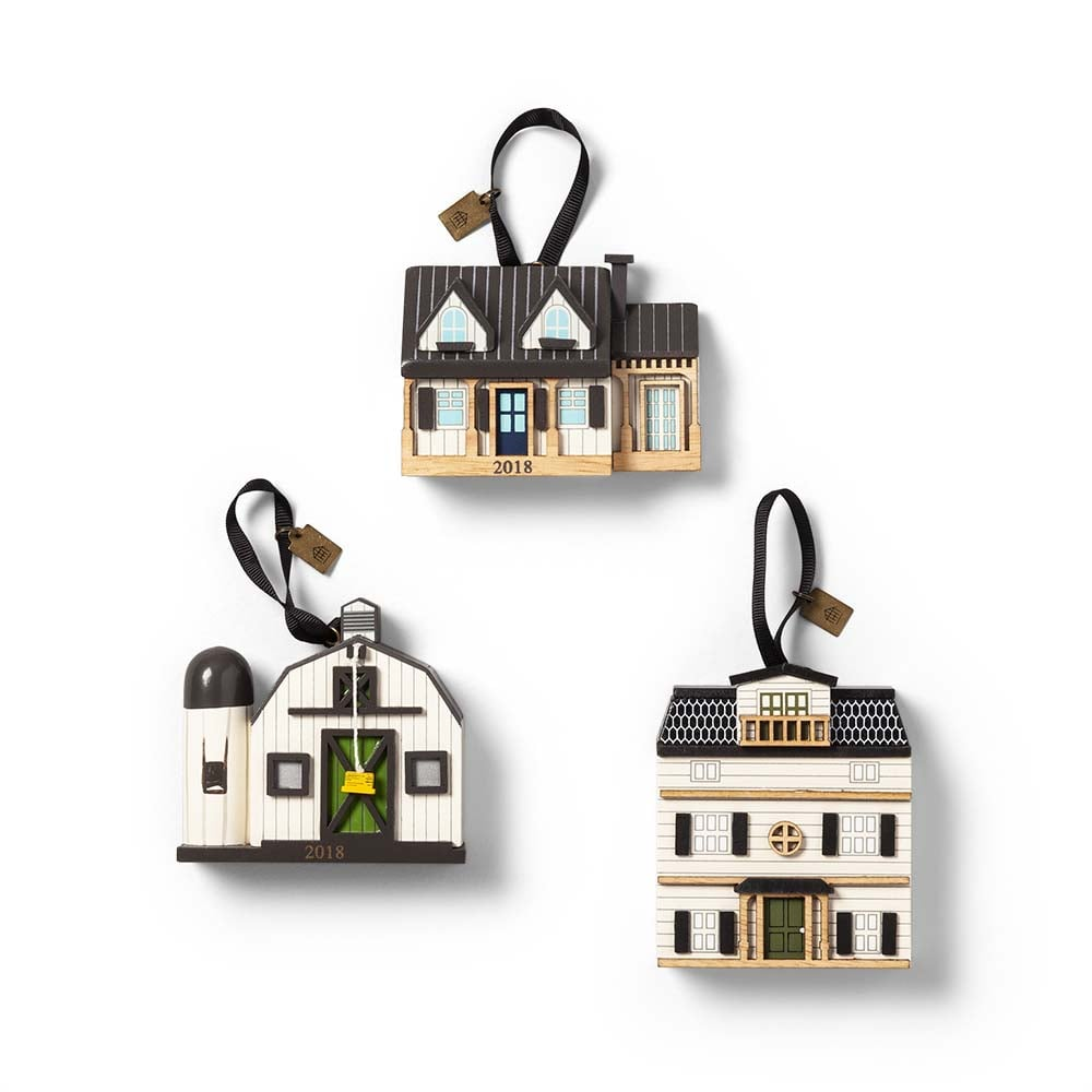 Hearth & Hand with Magnolia Dollhouse, Barn & Farmhouse Ornaments ($18 for a set of three)