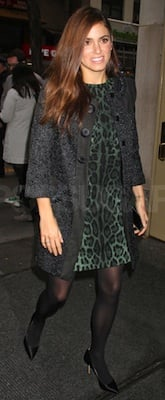 Nikki Reed in Green Leopard Dolce and Gabbana Dress