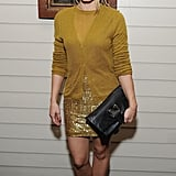 Kristen Bell mixes and matches cozy separates with a gold sequined mini for an easy-glam effect.