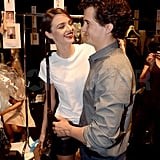 Orlando Bloom and Miranda Kerr so cute backstage at Dior.