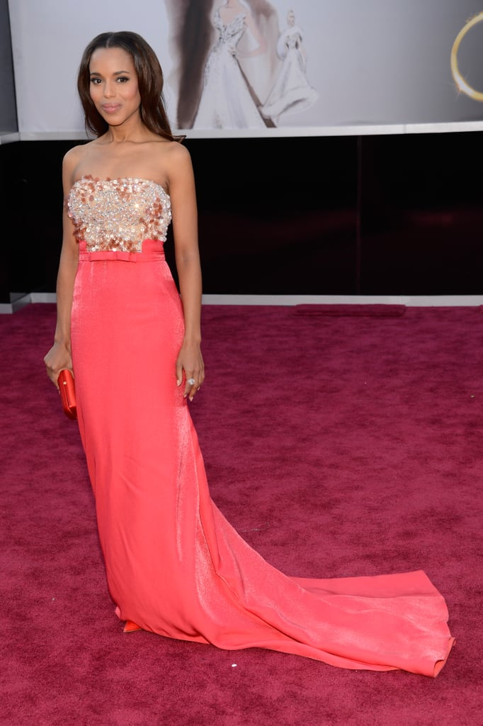 Kerry Washington looked beautiful wearing Miu Miu on the red carpet at the Oscars in LA tonight. Although she isn't nominated for an award this evening, her movie Django Unchained is up for best picture, and she will also be presenting an Oscar to a lucky winner. Kerry has been making plenty of award season appearances over the past two months — including stops over at the Golden Globes and the SAG Awards. What do you think of Kerry's look? Weigh in over on our Oscars fashion and beauty polls.