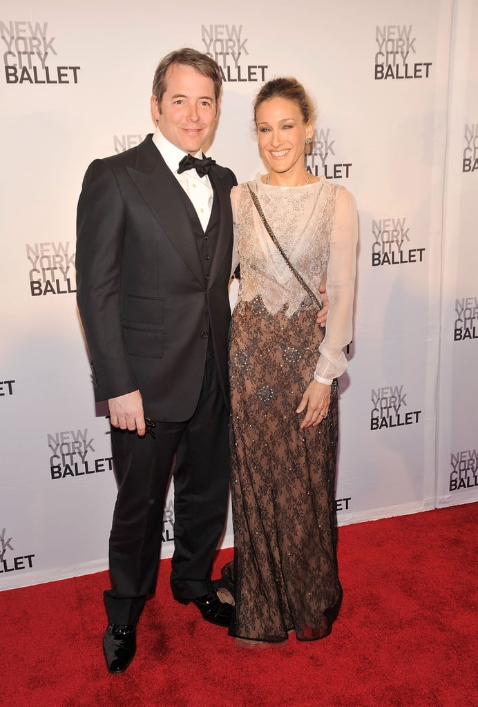 Sarah Jessica Parker and her husband, Matthew Broderick, were all smiles at the New York City Ballet Spring gala in Manhattan yesterday. The couple got formal for the event with SJP, who's on the board of the organization, wearing a Valentino gown and Matthew breaking out his tux and bow tie. SJP's appearance was her latest in a string of nights out on the town. There was Monday's Robin Hood Foundation bash, to which Sarah Jessica rocked some big hair, as well as the Met Ball, where she honored Alexander McQueen by wearing one of his designs. Her social schedule hasn't gotten in the way of her family life, since SJP spent a sweet Mother's Day with her twins and James Wilkie last weekend.