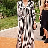 Zendaya paired a striped maxi with gladiator sandals for a casual-yet-cool daytime look.