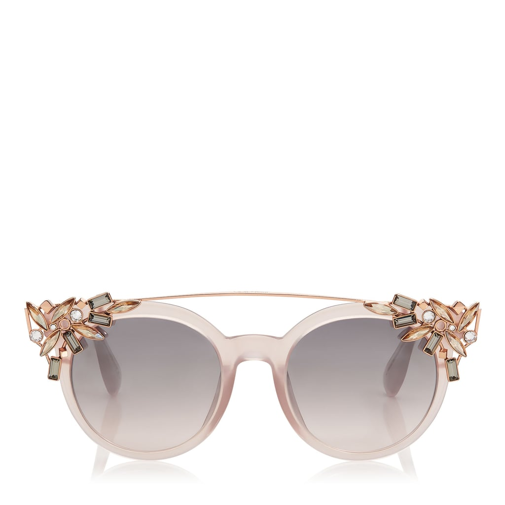 ebdddaa92db6 Jimmy Choo VIVY Pink Round Framed Sunglasses with Detachable Jewel Clip On  ( 595)