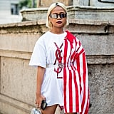 Style a White Logo Tee With a Striped Blouse on Top