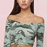 Garage Long Sleeve Crop Top With Ruching