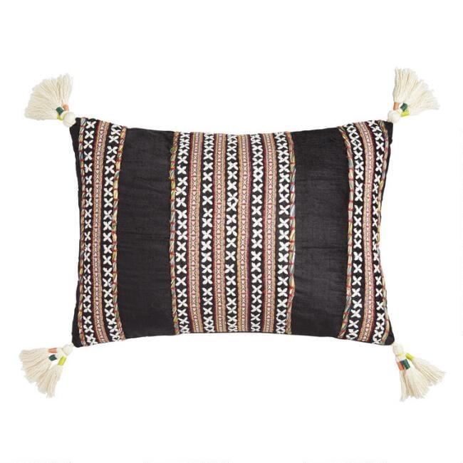 Black Velvet Embroidered Nora Lumbar Pillow