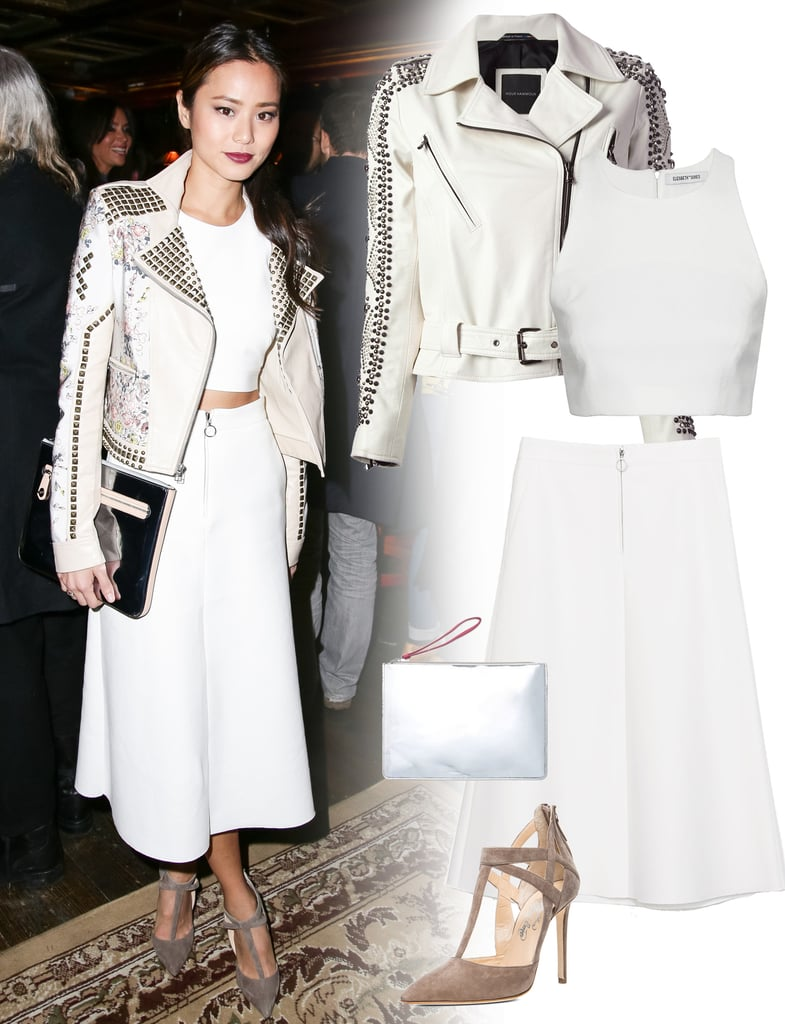 chung white midi skirt and crop top