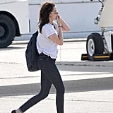 Kristen Stewart boarded a flight bound for London.