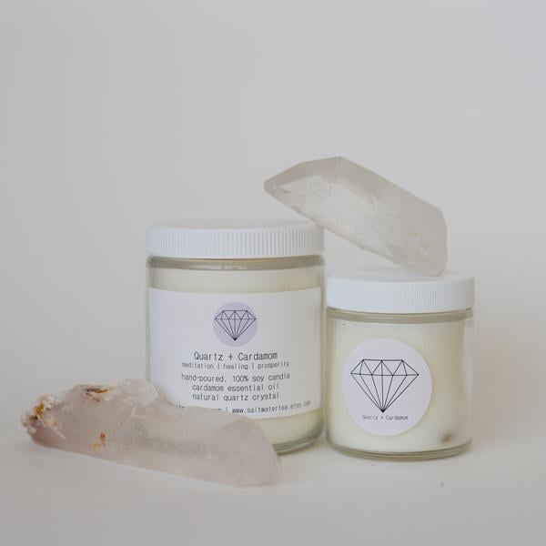 Quartz and Cardamom Soy Crystal Candle