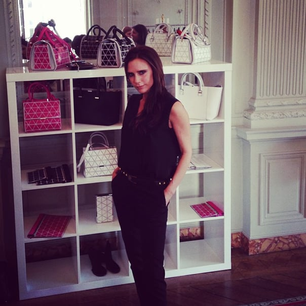 It was a London invasion in France! Victoria Beckham held court at the British Embassy to give editors a chance to get up close with her new bags . . . and to announce that her ready-to-wear line will be available on ecommerce next year. Source: Instagram user popsugarfashion