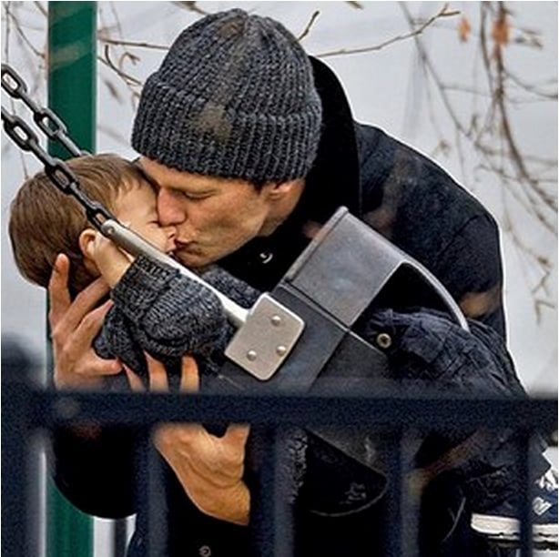 "Gisele Bündchen shared a sweet picture of Tom Brady and Benjamin, saying, ""Thank you for being the most loving father in the world. Wish I could be with you today."" Source: Instagram user giseleofficial"