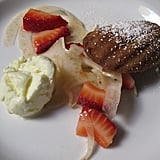 """Madeline"" Versus ""Olive Oyl"": olive oil ice cream and madeleines, strawberry, fennel salad, rose vinaigrette."