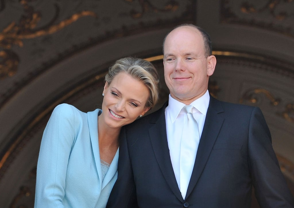 """They had two weddings. Charlene and Albert first said """"I do"""" in a civil ceremony in the Throne Room of the royal palace on July 1, 2011, and then again the following day in a religious ceremony. Charlene created her """"something blue."""" For the civil ceremony, Charlene wore a blue suit, which she later revealed was a collaboration between her and Karl Lagerfeld. """"We wanted something to match the colour of my eyes. It is my creation, and I'm proud of it. It's feminine and keeps with tradition, yet has a little twist that reflects my personal style,"""" she told Vogue in 2011. """"I thought it was a nice change to go for trousers instead of a skirt, especially since I'm an athlete and have always kept my clothes clean and simple."""" The blue colour has since been referred to as """"Charlene Blue."""""""