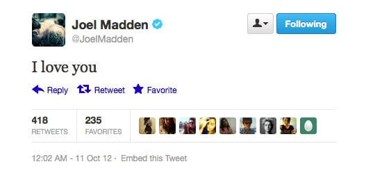 Nawww, we love you too, Joel Madden!