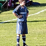Brooklyn Beckham rested for a moment during his game.