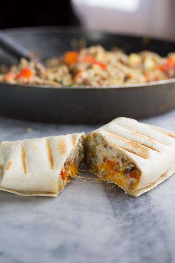 Zucchini Lentil Breakfast Burritos