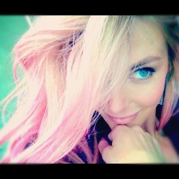 Jennifer Hawkins rocked pink hair for a Lovable campaign. Source: Instagram user jenhawkins_
