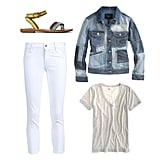 We love how a patchwork denim jacket looks with crisp white skinnies — and it's the kind of look that will make you stand out as the coolest girl at the farmers market. Since the jacket is your main piece, keep it in the spotlight by opting for a light gray tee, then add a subtle pop of color with your sandals. Get the Look:  Lucky Brand Candra Leather Strap Sandals ($69) Isabel Marant Olto Jacket ($925) Madewell Artisan Tee ($30) James Jeans Twiggy Cropped Legging Jean ($141)