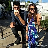 Nina Dobrev flashed a smile and a peace sign while visiting Japan. Source: Nina Dobrev on WhoSay