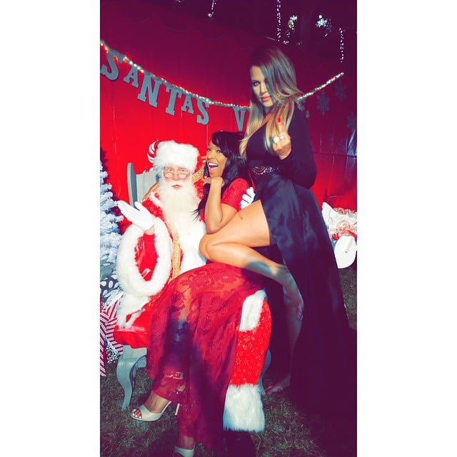 Khloé Kardashian took a scandalous picture on Santa's lap.