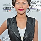 Zendaya's Pink Lipstick at the Staples For Students School Supply Drive in 2012