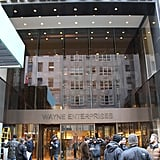 NYC's Trump Tower was transformed in to Wayne Enterprises for The Dark Knight Rises.