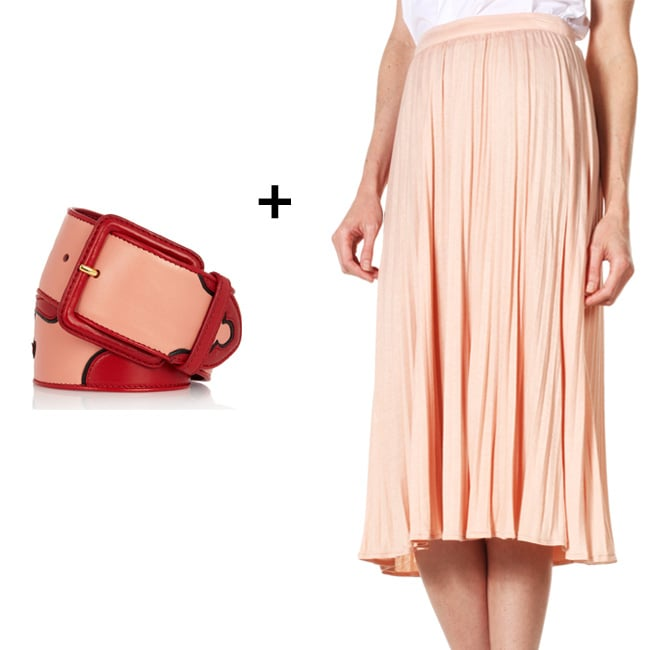 Wide-Belt Styling Tip: Riffing on two of Summer's most beloved trends — the Western-inspired outlook and a ladylike appeal — we think this is an unexpected match made in heaven. Use your colorblocking prowess to choose your preferred colorways, and then add a strong shape (in this case, a funkier floral appliqué wide belt) with a more relaxed one (hello, soft pleats!). The finished result? A cool mix of cinched shape and flowy layers. Get the Look: Tibi Relaxed Jersey Pleated Skirt ($225) + Miu Miu Floral Appliqué Leather Waist Belt ($595)