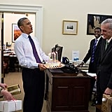 And Obama's totally into birthday surprises.