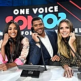 Ciara, Russell Wilson, and Heidi Klum taking donations on the phone.