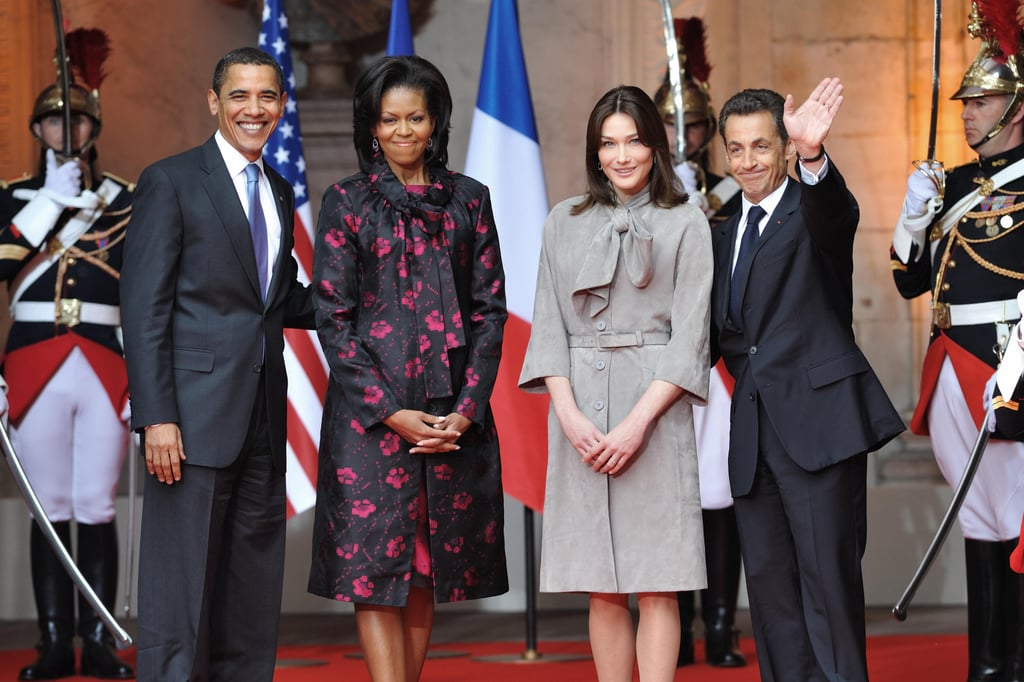 In April 2009, the Obamas spent time with French President Nicolas Sarkozy and First Lady Carla Bruni-Sarkozy during a trip to Strasbourg, France.