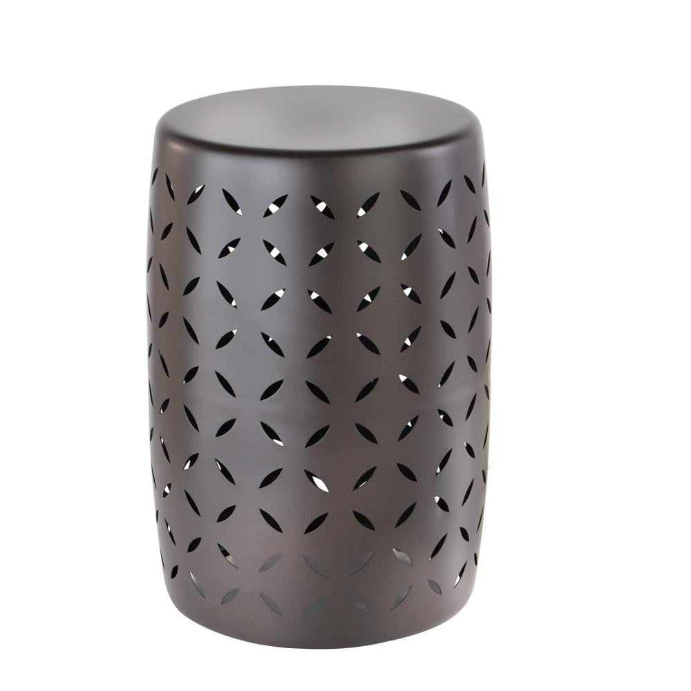 Metal Garden Stool With Geo Pattern New Outdoor Furniture From